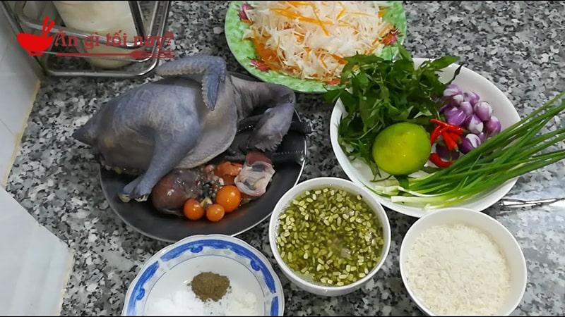 Nguyên liệu nấu cháo gà ác hầm hạt sen đậu xanh