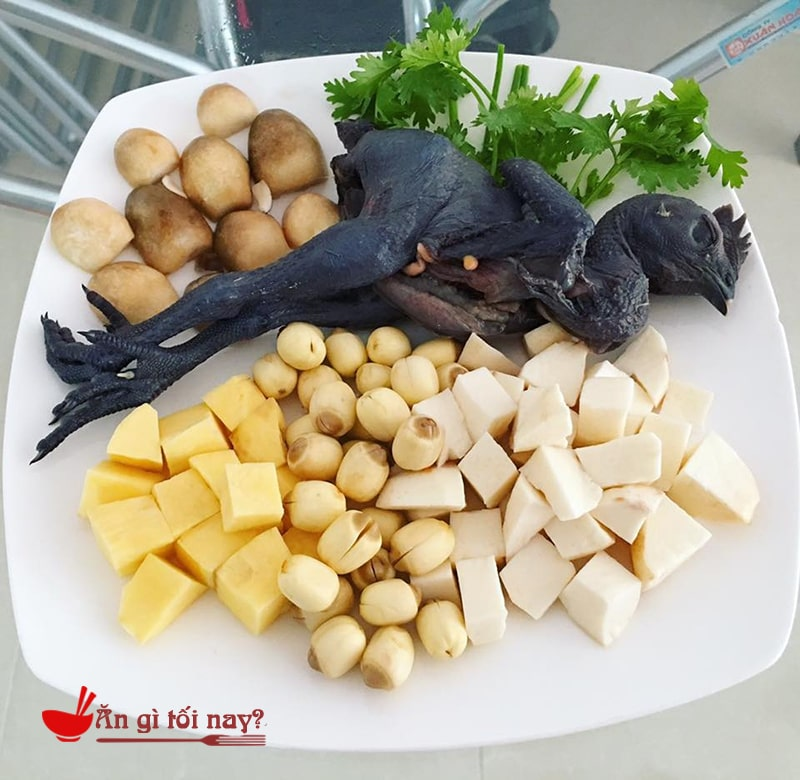Nguyên liệu nấu cháo gà ác hạt sen